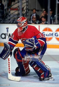 Goalie Patrick Roy of the Montreal Canadiens defends the net during an NHL game circa Hockey Goalie, Hockey Teams, Hockey Players, Ice Hockey, Hockey Stuff, Montreal Canadiens, Patrick Roy, Saint Patrick, Sport