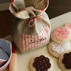 """adorable cookie set made by Amy at NanaCompany.  instructions are in the book, """"Zakka Style: 24 Projects Stitched with Ease to Give, Use, & Enjoy"""" by Rashida Coleman-Hale."""