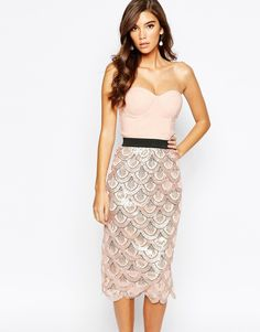 ASOS ofRare London 2 In 1 Sequin Midi Dress With Scalloped Hem. This is unusual and nice, you may wish to add something at the top
