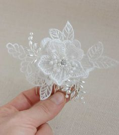 Bridal lace headpiece wedding fascinator pearl hair comb   MOOOOOOOOOOOOOOO