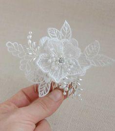 Bridal lace headpiece wedding fascinator pearl hair comb by Elibre, €28.00