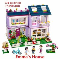 New Friends Series Emma& House Building Blocks Classic For Girl Kids Model Brick Toys Compatible with Lego 41095 Best Gift Model Building Kits, Building Toys, House Building, Legos, Toys For Girls, Kids Toys, Toys R Us, Lego Friends Sets, Friends Series
