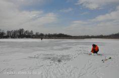 Wisłok zamarznięty. Ice fishing in Polnad. Wislok river.