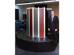Supercomputer designer Seymour Cray in front of his Cray-1 computer - CHM Revolution  1976 <<wraparound couch, even.