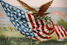 Patriotic Post Card 1920 - Eagle With Flag- American Pride. from timeinabottle on Ruby Lane