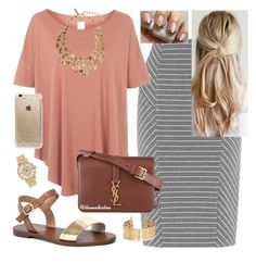 """""""Pretty in Peach"""" by themodestme ❤ liked on Polyvore featuring Warehouse, Topshop, Windsor Smith, Yves Saint Laurent, H&M, Oscar de la Renta, Rifle Paper Co and Michael Kors"""