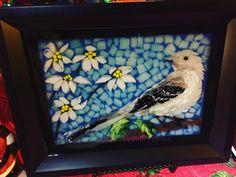 Stained glass mosaic Northern Mockingbird courtesy of Kickin' Glass Kansas.