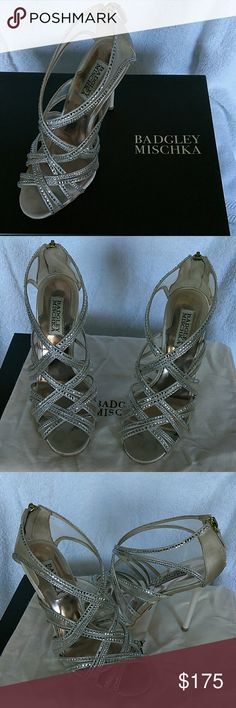 Authentic badglay mischka Fancy shoes Come with box used only once for special occasions Badgley Mischka Shoes Heels