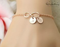 Personalized Bracelet, Inspirational bracelet Personalized Infinity bracelet, Personalized graduation gift for her Personalized womens Infinity Bracelet ROSE GOLD by BenyDesign - My Accessories World Simple Jewelry, Cute Jewelry, Gold Jewelry, Jewelry Accessories, Jewelry Design, Women Jewelry, Jewellery, Mother Daughter Bracelets, Mothers Bracelet