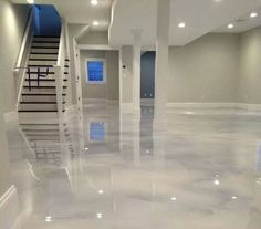 Counter top diy or basement flooring- Pearl White Epoxy (Concrete) Floor Epoxy Concrete Floor, Metallic Epoxy Floor, Painted Concrete Floors, White Concrete, Floating Hardwood Floor, Epoxy Floor Designs, Finished Concrete Floors, Acid Stained Concrete Floors, Epoxy Floor Paint