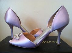 Badgley Mischka Salsa Lavender Women's Dressy Evening Peep Toe Heels Pumps 9 M #BadgleyMischka #PumpsClassicsHeelsDressyEvening