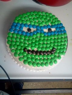Tmnt cake 1st attempt..made with m time use green frosting for face..lol..live and learn....did it freestyle