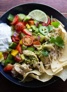 Slow Cooker Beer Chicken Taco Salad with Cilantro Vinaigrette | sweetpeasandsaffron.com @sweetpeasaffron