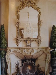 Jessica Mc Clintock's fireplace via Dream in Cream