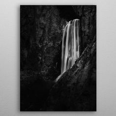 Stunning waterfall Boka by Patrik Lovrin | metal posters - Displate #displate #naturephotography #artprints #Slovenia #blackandwhite