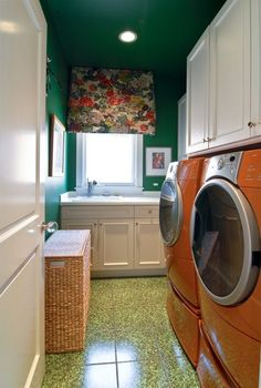 Bright colors make this laundry room quite cheerful. #DreamHome