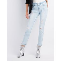 Refuge Destroyed Skinny Boyfriend Jeans ($35) ❤ liked on Polyvore featuring jeans, indigo, mid rise boyfriend jeans, ripped boyfriend jeans, light wash ripped boyfriend jeans, distressed skinny jeans and destructed boyfriend jeans