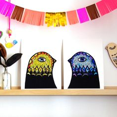 Yellow and Blue Bird Head Art Prints. As seen in The Block 2013