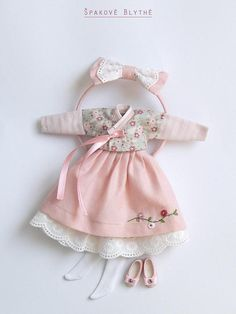 Holiday dress in the hanbok-style for Happy Easter celebrating. For gentle and modest girls.) It consists of: a dress with straps, a lower skirt, a chogory (