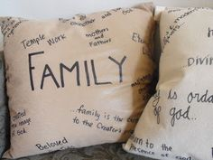 Mothers Who Know: Proclamation Pillows.  Use this idea for any throw pillow