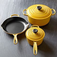 Le Creuset Signature Cast-Iron Cookware Set from Williams Sonoma. Shop more products from Williams Sonoma on Wanelo. Williams Sonoma, Le Creuset Cookware, Cookware Set, Kitchen Items, Kitchen Gadgets, Kitchen Utensils, Kitchen Stuff, Kitchen Tools, Kitchen Ware