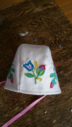 And the top. Baby bonnet beaded by dollface. Pattern by Storybook Woods and design by Jessica Gokey with permission. 2015.