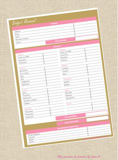 organisateur budget mensuel – Finance tips, saving money, budgeting planner Organization Bullet Journal, Budget Organization, Home Organisation, Filofax, Monthly Budget, Budgeting Finances, Keto, How To Plan, Prints