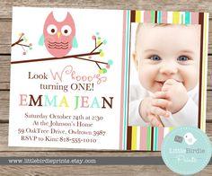 OWL INVITATION PRINTABLE  Girl Birthday by littlebirdieprints