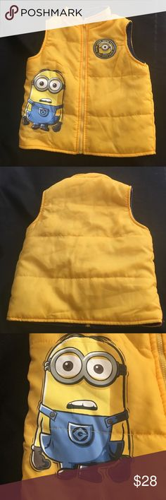 Despicable Me Minions Yellow Vest Despicable Me Minions Yellow Vest. Gently used. Blue fleece inside. Despicable Me Jackets & Coats Vests