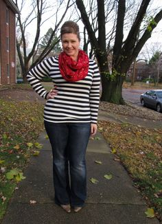 Stripes and red with a ballerina bun!