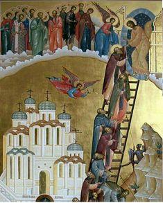 Fall Of Constantinople, Byzantine Art, Orthodox Christianity, Painting Videos, Christian Art, Religious Art, Ladder, Saints, Illustration