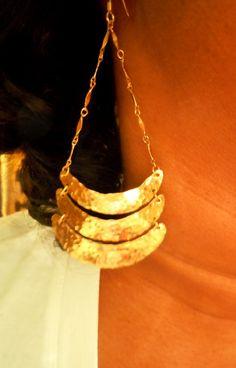 chandelier brass earrings