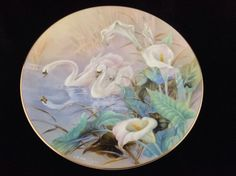 $27.99 FREE SHIPPING LENA LIU Swans Plate by WS George On The Wings of Snow #SWANS
