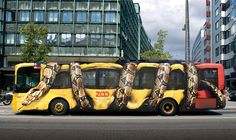 Vinyl Vehicle Wrap of Snake on a City Bus