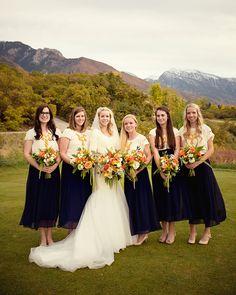 navy blue orange green white natural organic styled wedding flowers utah calie rose