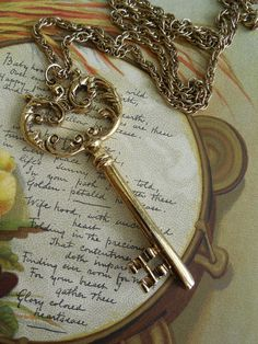 Vintage Gold Skeleton Key Pendant Necklace by CornermouseHouse, $10.00