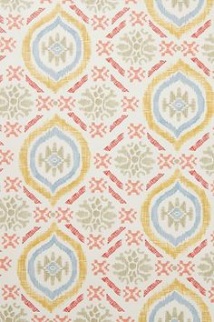 Anthropologie wallpaper- cute for bathroom with subway tile below and the one red tile stripe