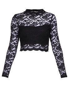 London Fashion Hub Lace Top Black