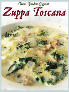 Zuppa Toscana (Olive Garden copycat)- Recipe: 1 lb.mild Italian pork sausage, 5 Yukon Gold potatoes,1 large yellow onion, 2 cloves garlic, 2 cups kale, 1/2 tsp red pepper flakes, 2 Can (8 oz) chicken broth, 4 cups water, 1 cup heavy whipping cream +
