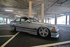Silver BMW e36 coupe on Racing Dynamics RGP wheels (8,5 +13; 9,5 +20)
