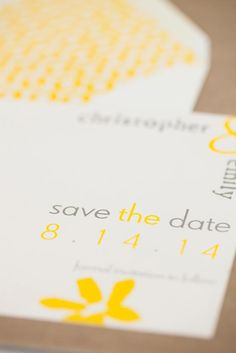 Yellow save the date from No Regrets. Photo by Picturesque Photos by Amanda. #wedding #savethedate #invite #yellow