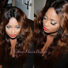 Bombshell makeup look. Great with any lip colour