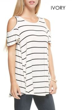 Striped Open Shoulder Top!