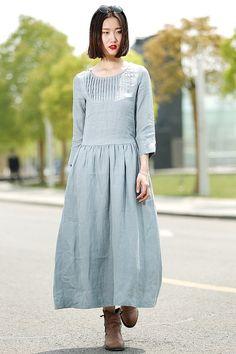Blauwe linnen jurk lange Maxi Casual zomer wijde