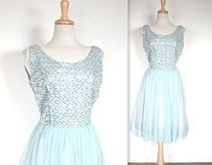 SALE!!! Was $165 Now $95    Vintage 1960s powder blue sequin and chiffon party dress! Lovely iridescent sequin bodice with chiffon and acetate