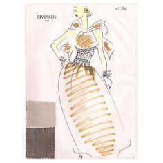 1stdibs | Givenchy Croquis of an Evening Dress