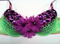 EDC rhinestone & daisy Rave Hippie costume dance by 2girls2Tus, $29.49 Rave Bra, EDC Bra