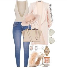 Twinkle Toes Make 'em blush in shades of soft pink and nude for a chic Thursday afternoon outfit idea. Click the 🔗 in our bio for full… Outfits With Hats, Jean Outfits, I Love Fashion, Womens Fashion, Chic, Casual, Pink, How To Wear, Stuff To Buy