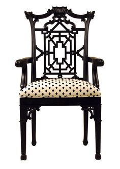 The Polohouse: The Chinese Chippendale patterns are named after Thomas Chippendale (1718-1779), London's most widely known furniture and cabinet maker during the mid-Georgian, English Rococo, and Neoclassical styles. This classic motif originated from his interest in incorporating Chinese and other Asian elements into various furniture and cabinetry designs. The geometric line patterns, usually within a rectangular framework,  are varied and quite complex for a builder or artisan to execute.