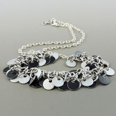 Chainmail Disc Necklace, Black and Silver Chainmaille Necklace, Chain Mail Jewelry, Cha Cha Necklace by HCJewelrybyRose on Etsy